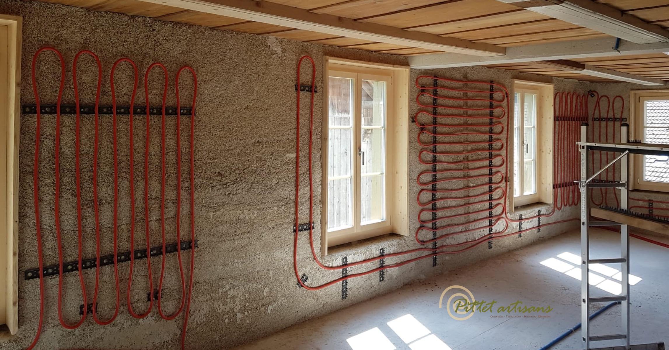 Murs chauffants sur doublages en béton de chanvre